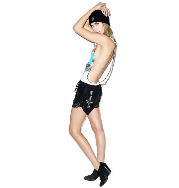 Hazmat Design Scarlet Letter Lace Shorts