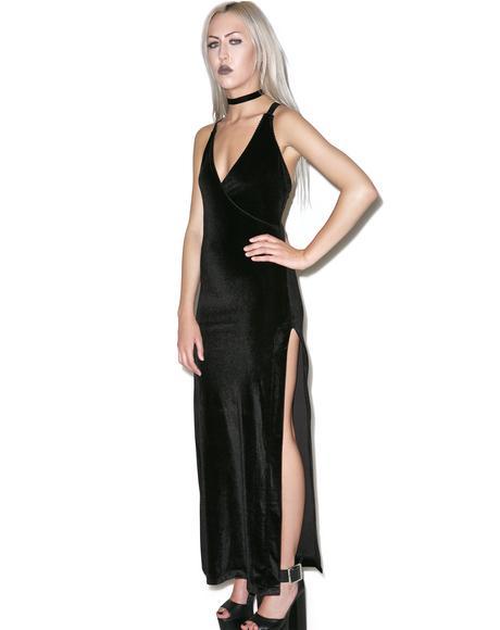Obsidian Velvet Maxi Dress