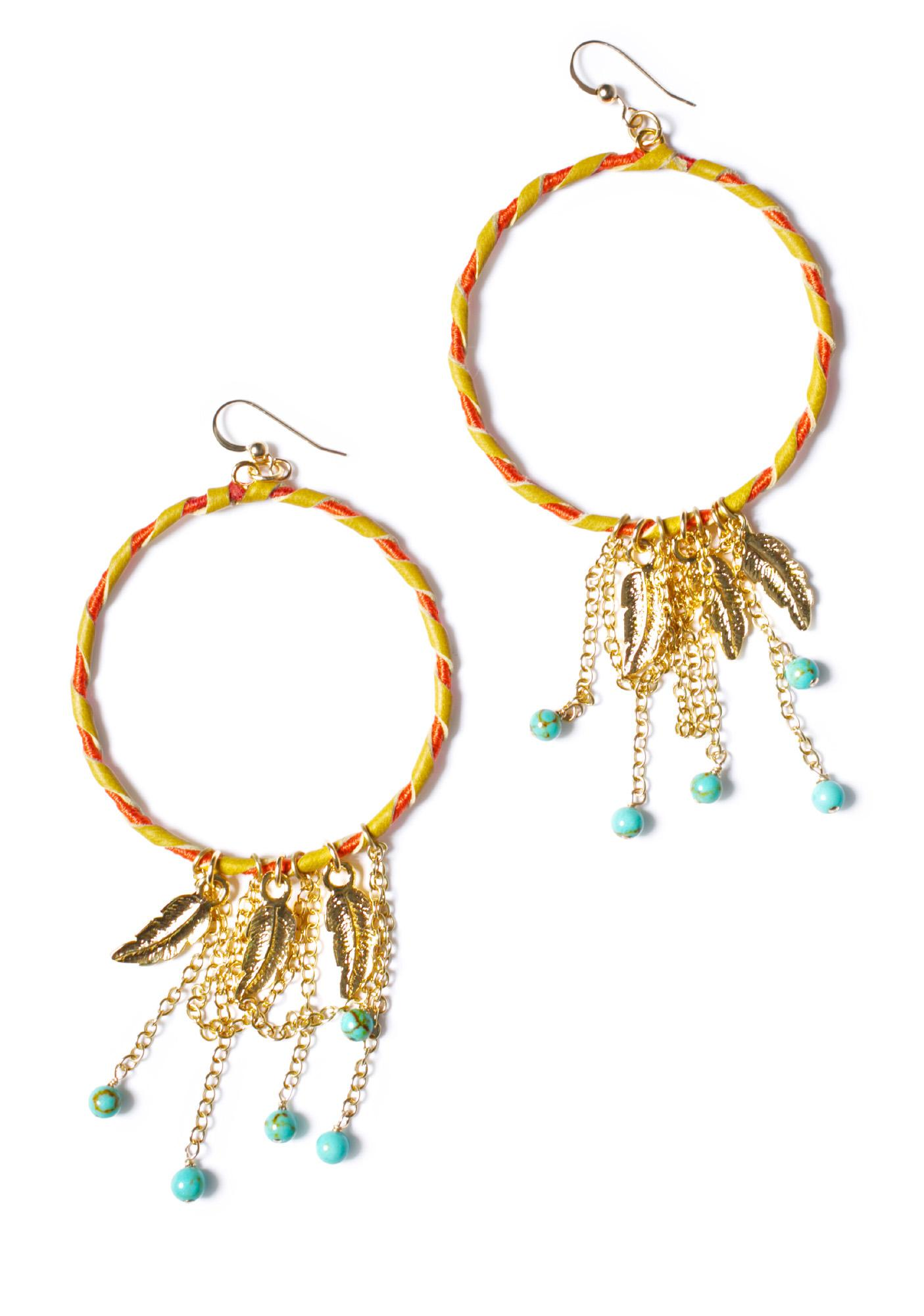 Ettika Feather Charm Blonde Leather Hoop Earrings