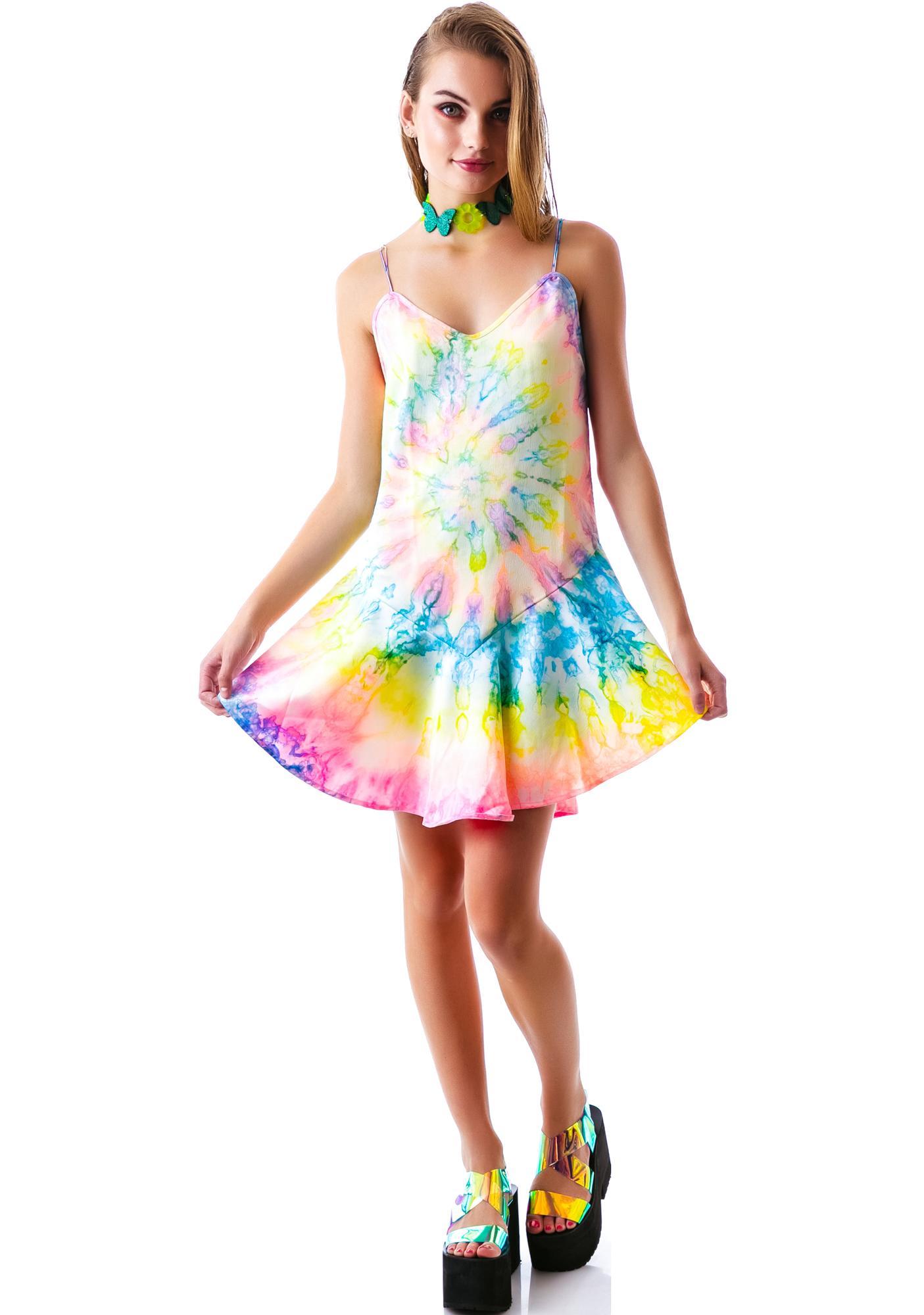 UNIF Tie Dye Charmuse Dress