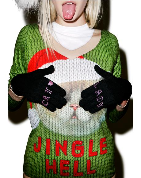 Cat Lady Knit Gloves