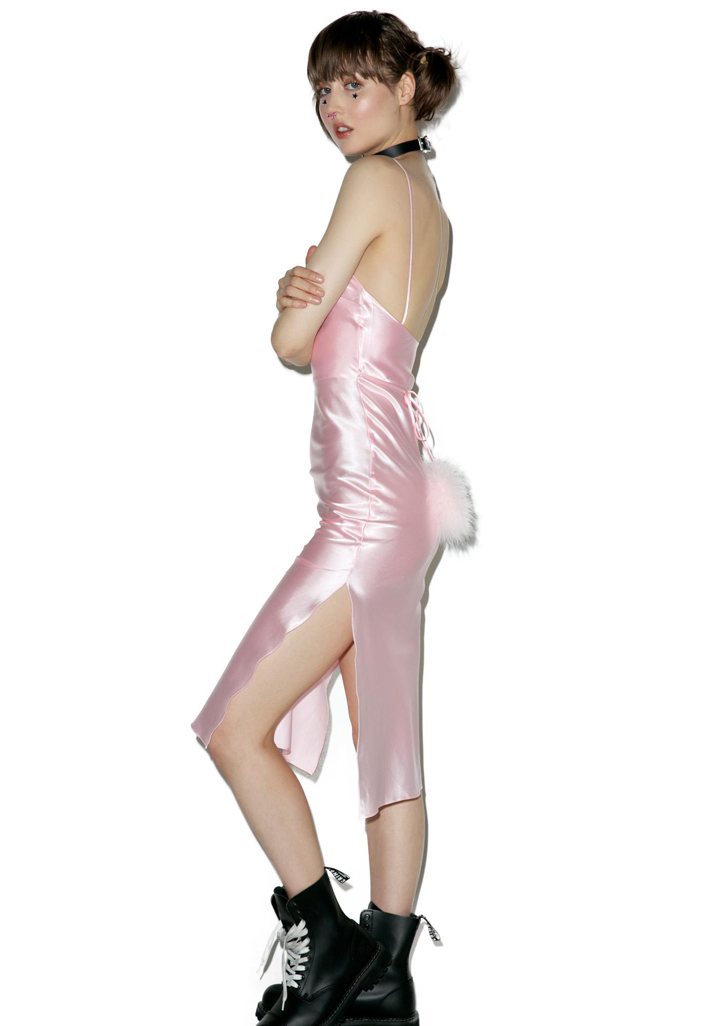 Dyspnea Pink Gold Digger Midi Slip Dress