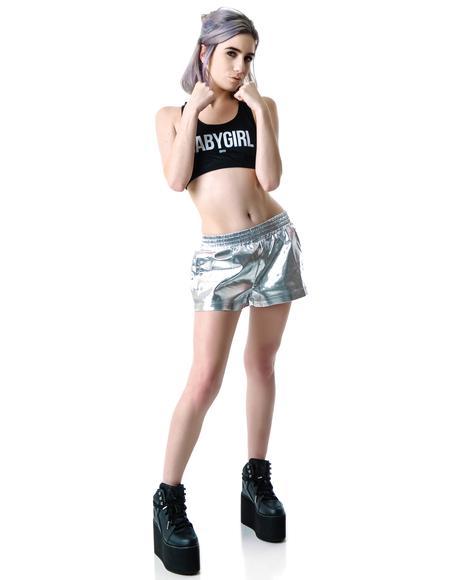 Mirror Mirror Metallic Faux Leather Shorts