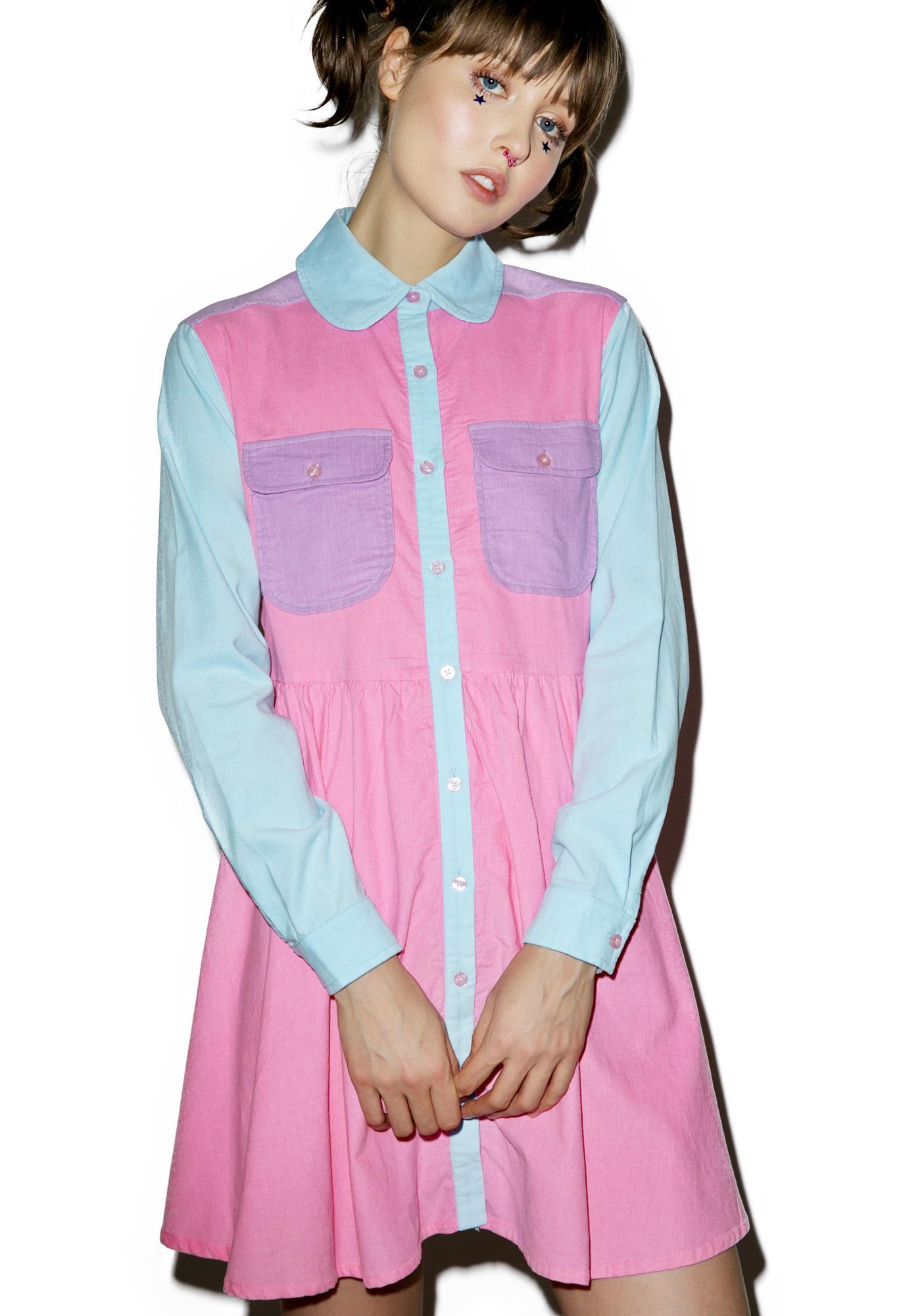 Lazy Oaf Pastel Panel Cord Dress