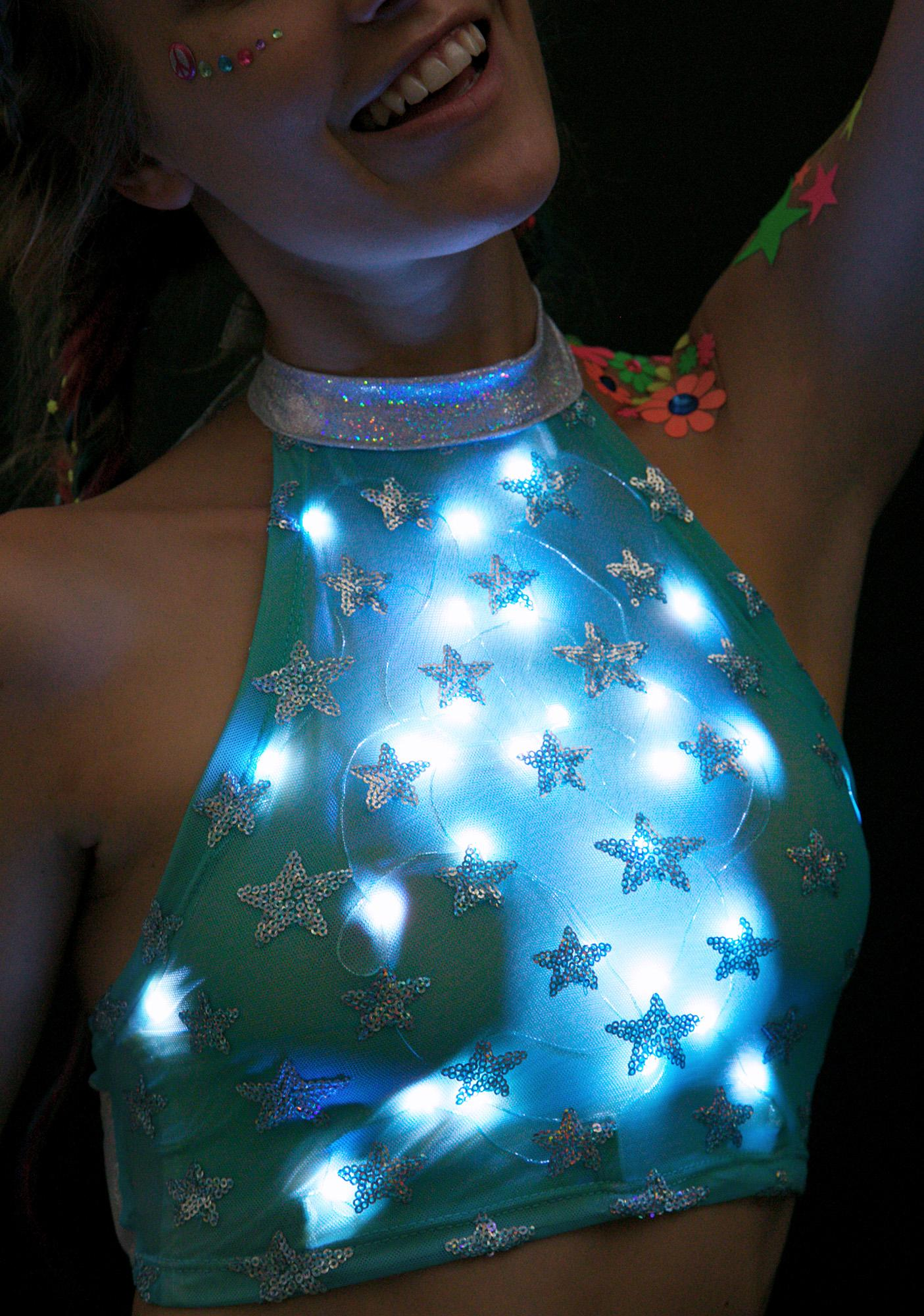 J Valentine Star Voyage Light-Up Halter Top