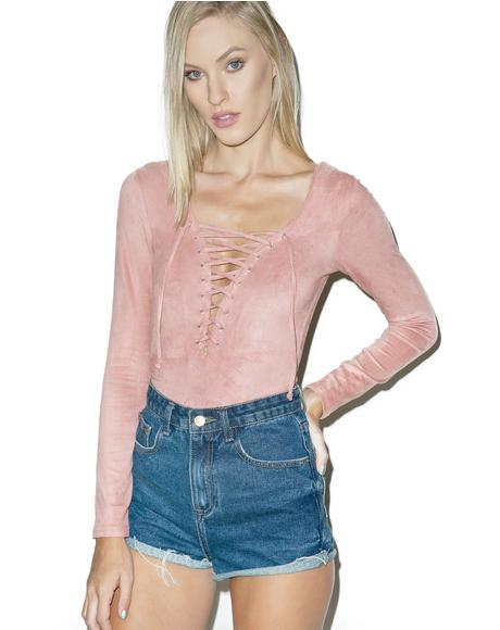 Wilted Rose Lace Up Bodysuit