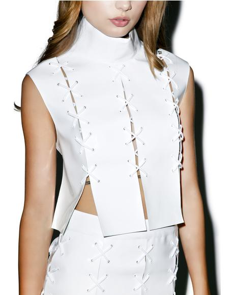 Cross Eyelet Patent Leather Top