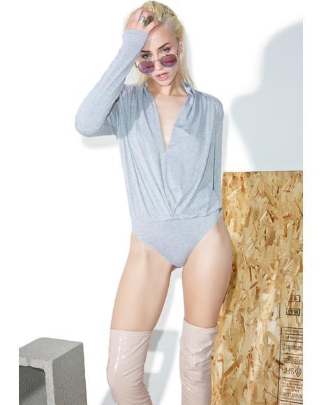 Long Sleeve Surplice Bodysuit