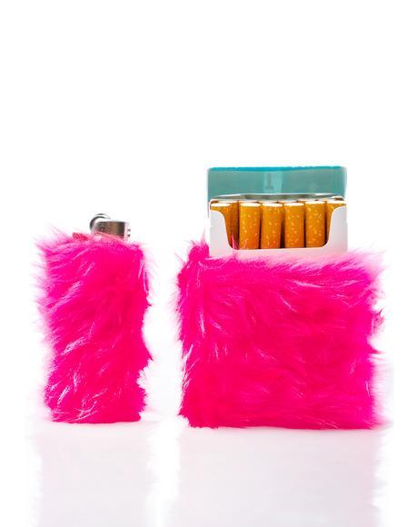 Kandi Krush Pink Lighter & Cigarette Fur Case Set