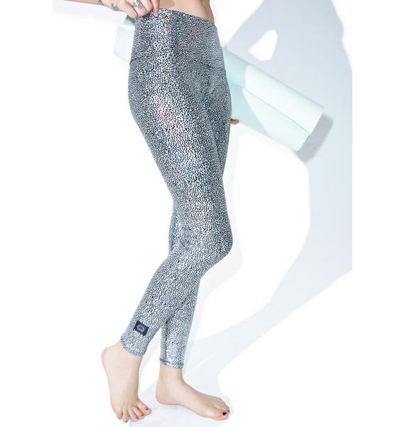 PURUSHA PEOPLE Silver Hologram Leggings