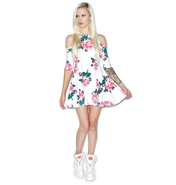 Joyrich 8bit Floral Cutout Shoulder Dress
