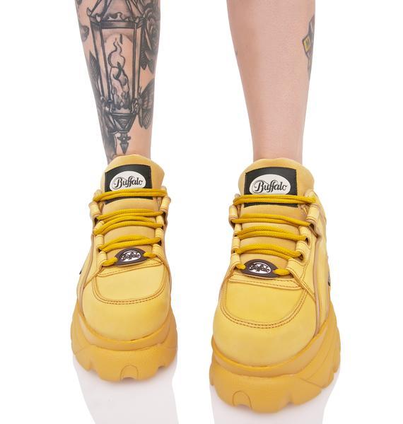Buffalo Nubuck Beige Platform Sneakers