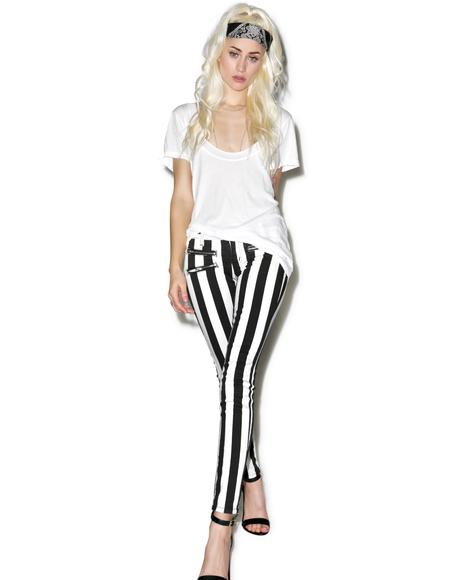 Lydia Striped Skinny Jeans