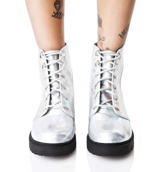 Moonstone Hologram Cut-Out Boots