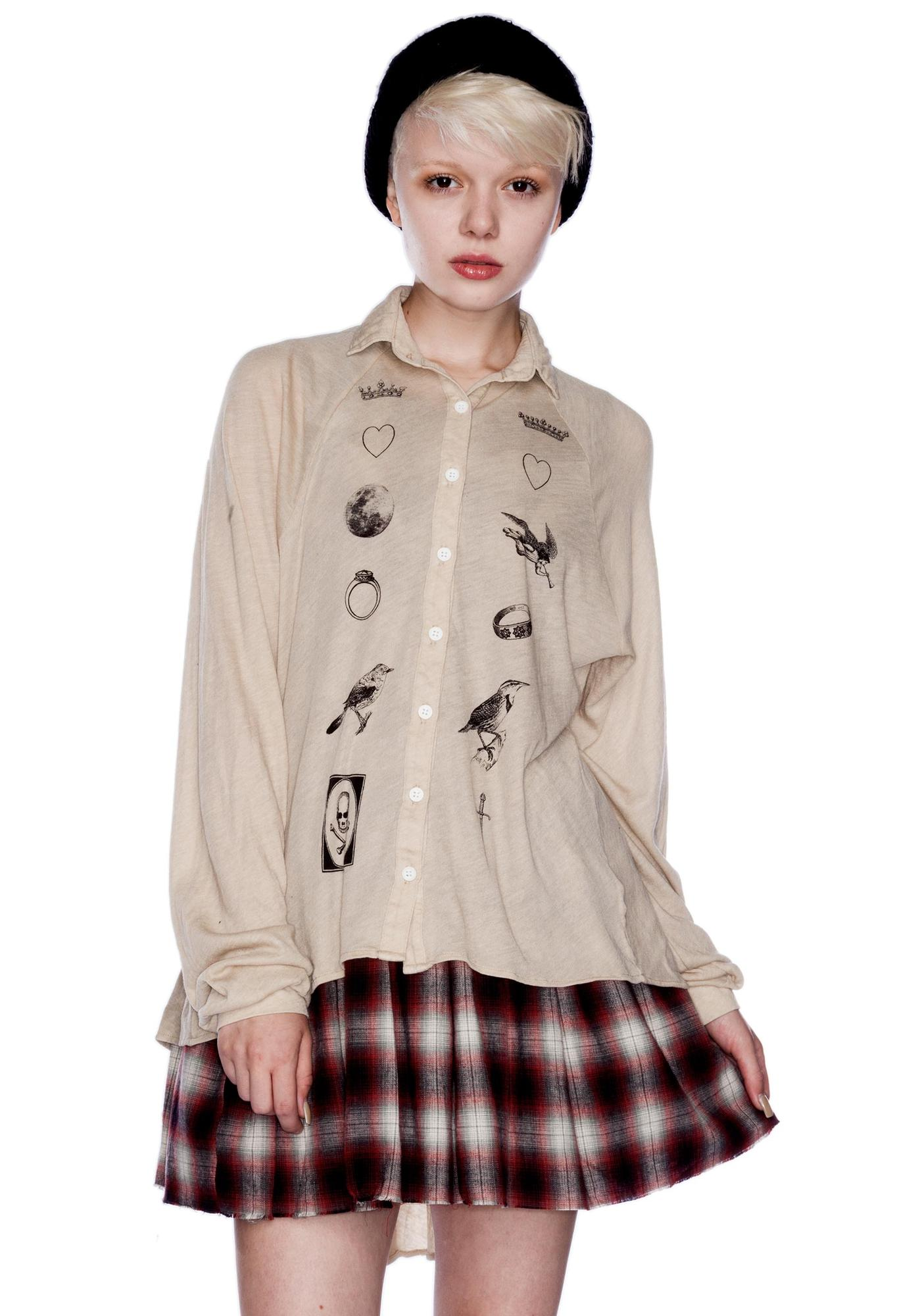 Wildfox Couture Fate Sunday Button Down Shirt