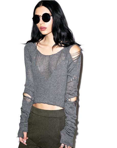 Down n' Out Destroyed Sweater
