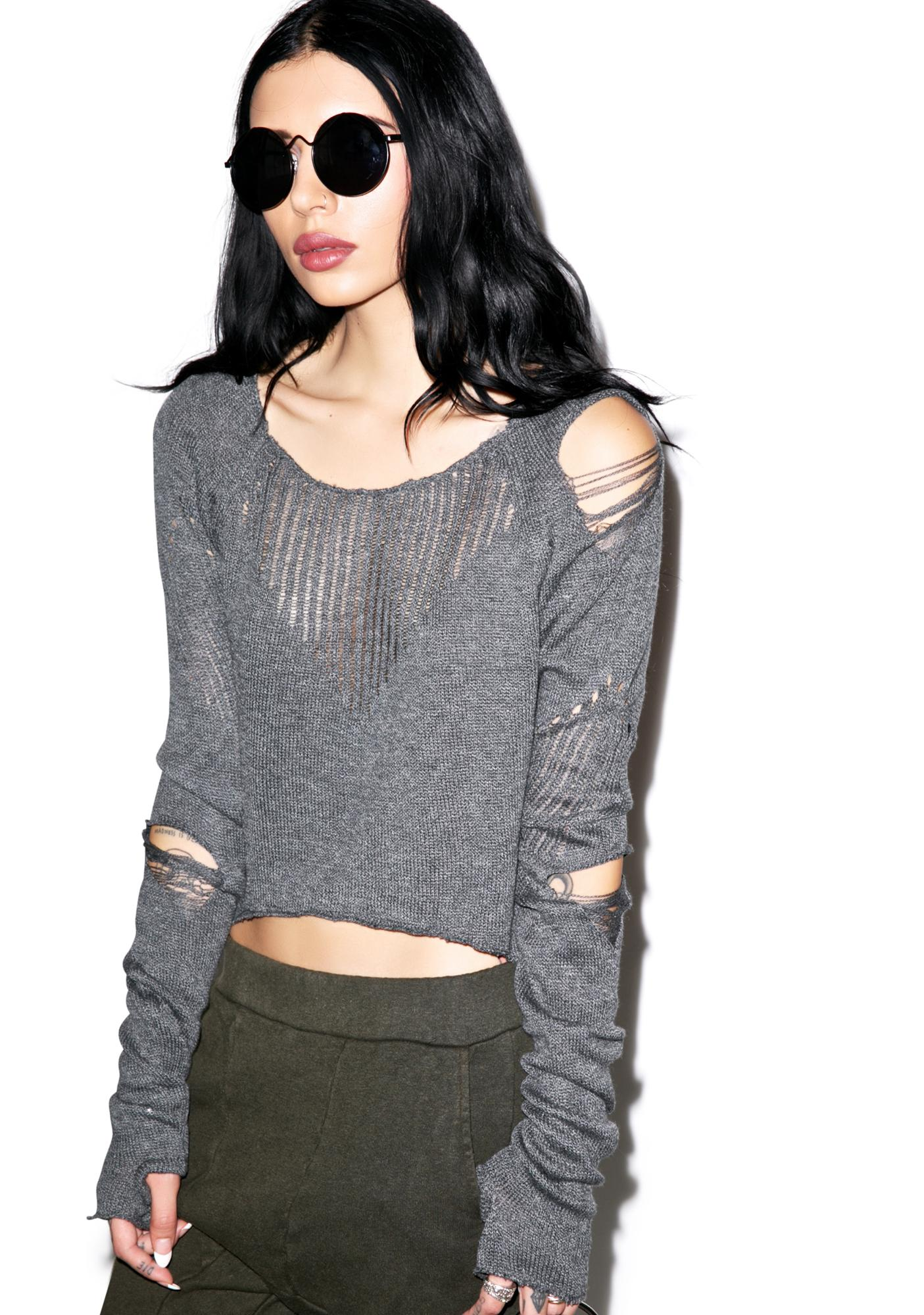 Lip Service Down n' Out Destroyed Sweater
