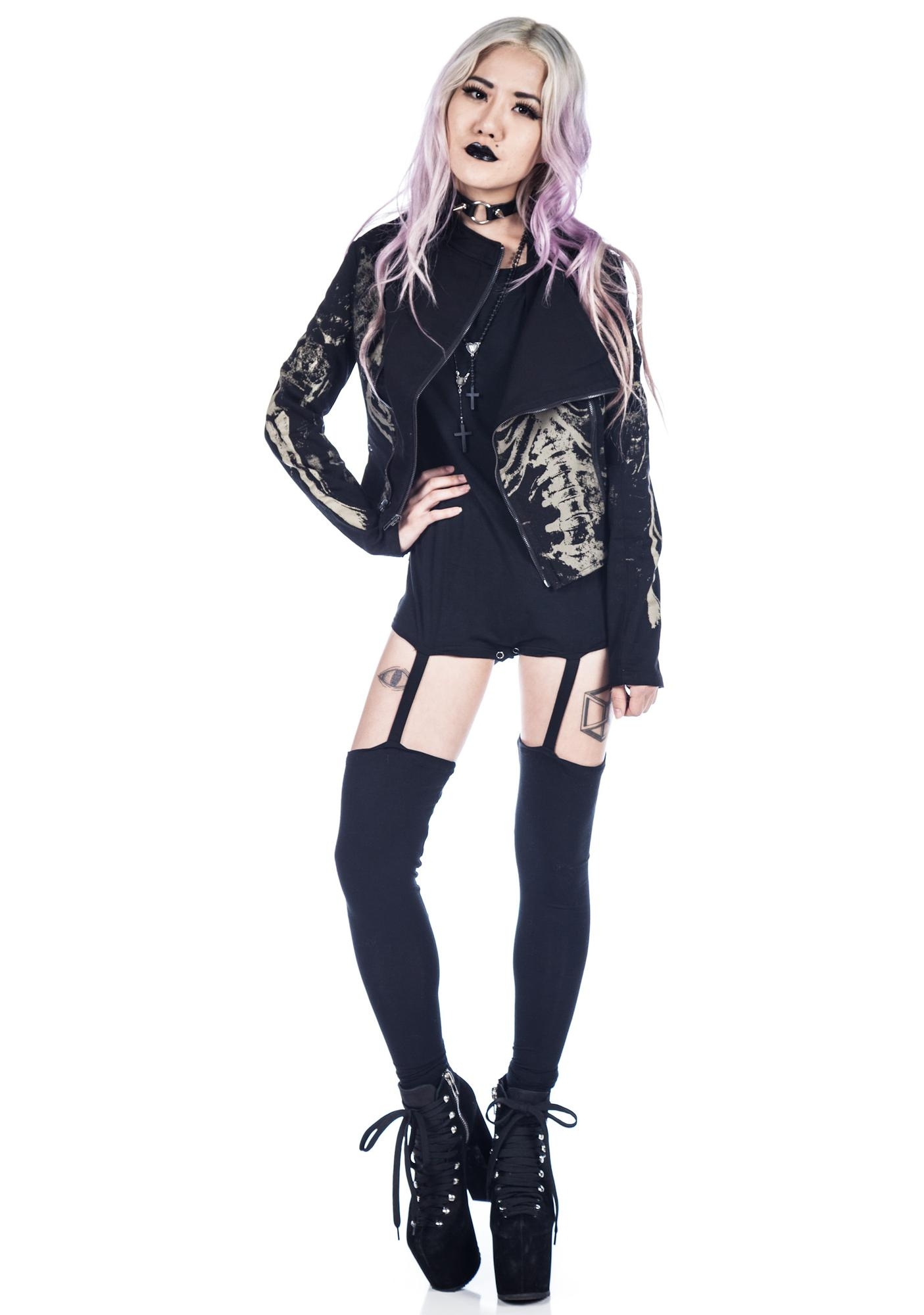 Widow Skeleton Screen Moto Jacket