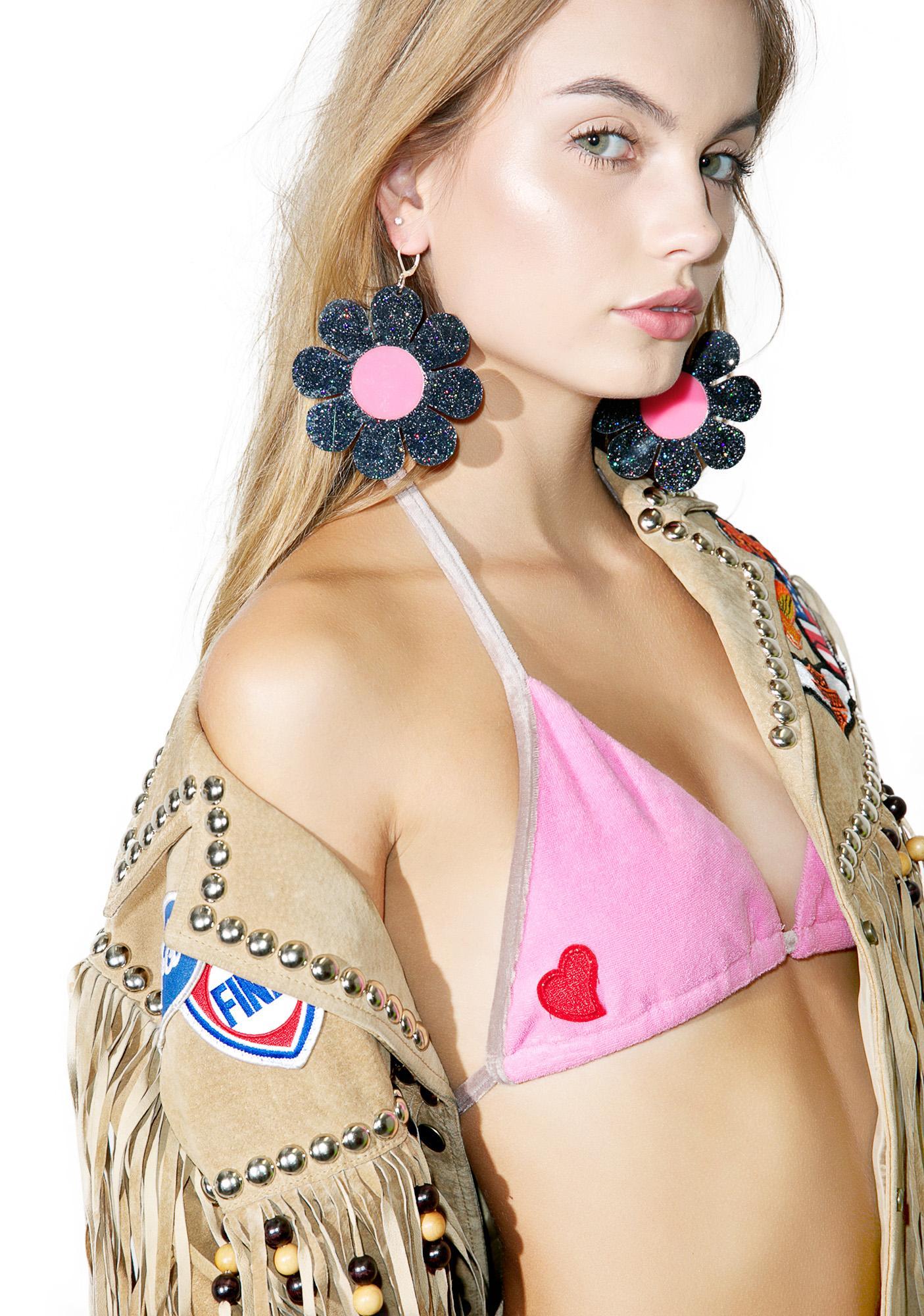 Marina Fini Glitter Flower Power Earrings