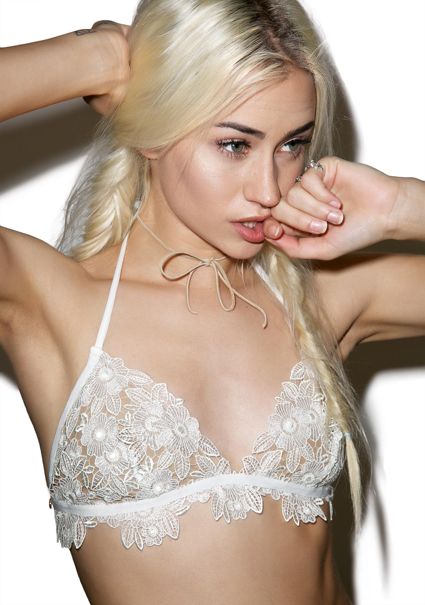 For Love & Lemons Valencia White Sands Bikini Top