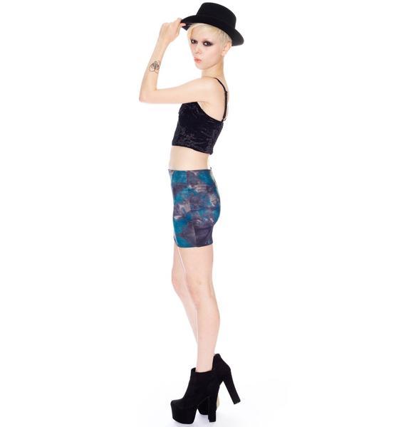 Print Elastic Mini Skirt