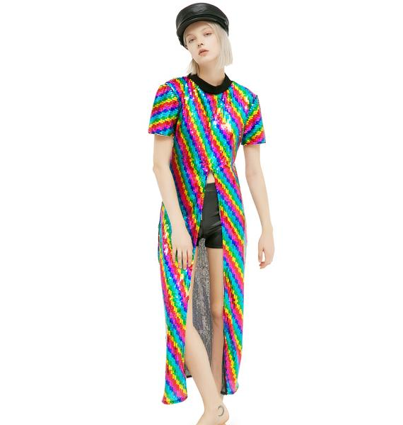 Isolated Heroes Rainbow Split Sequin Maxi
