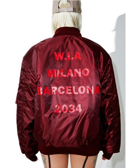 Burgundy 2034 Reversible Bomber