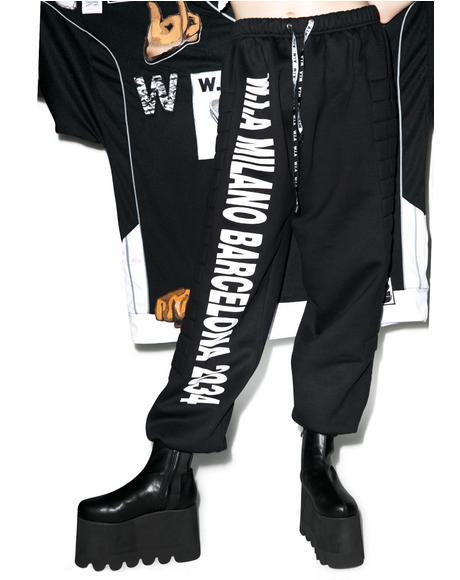 Black Padding Sweat Pants
