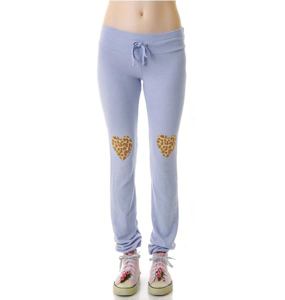 Wildfox Couture Leopard Heart Knees Malibu Skinny Sweats