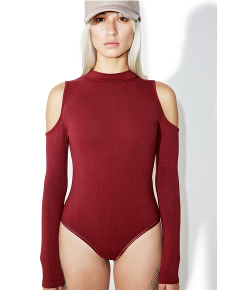 Burgundy Say That Cutout Bodysuit