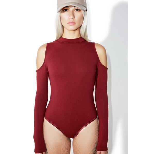 Glamorous Burgundy Say That Cutout Bodysuit