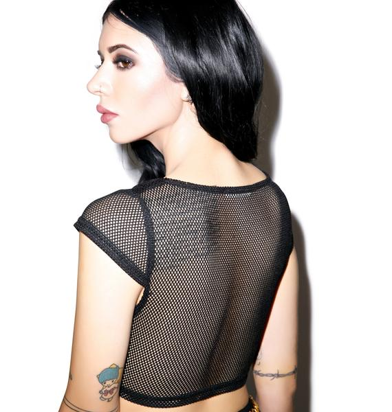 Deep Sea Fishnet Cross Top
