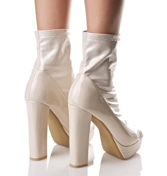 Nude Eclipse Peep-Toe Boots