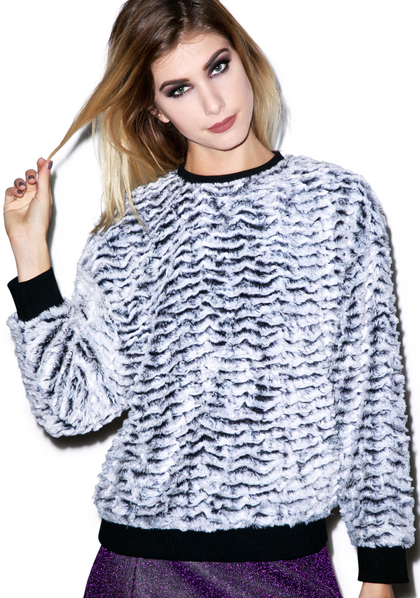 Motel Albite Faux Fur Sweatshirt