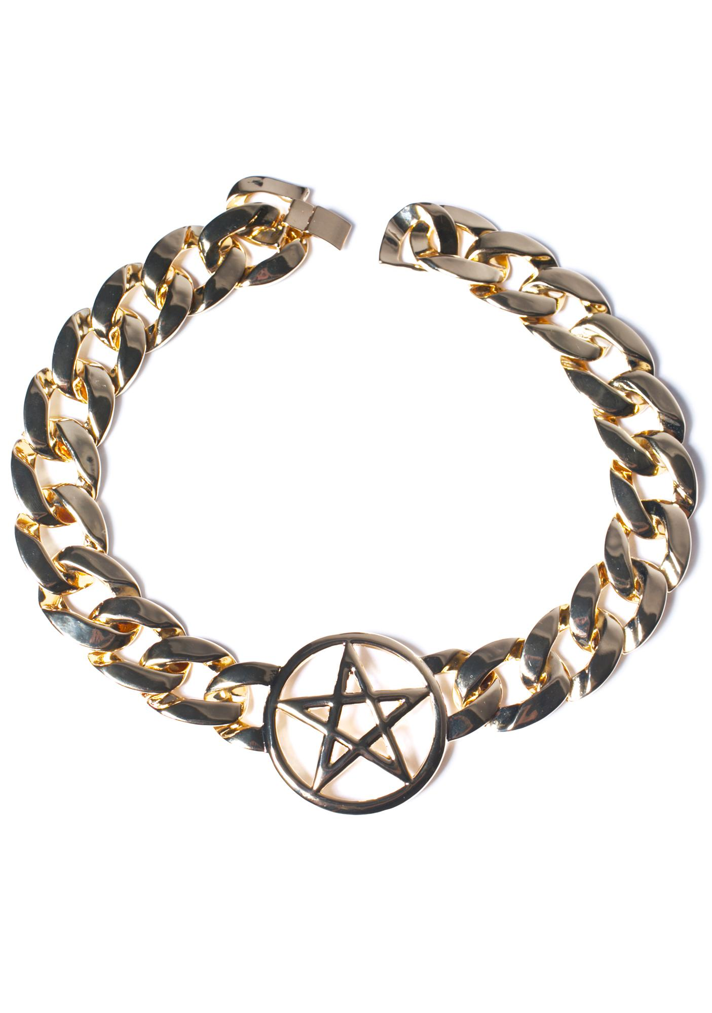 Rock n Rose Pentagram Chain Choker