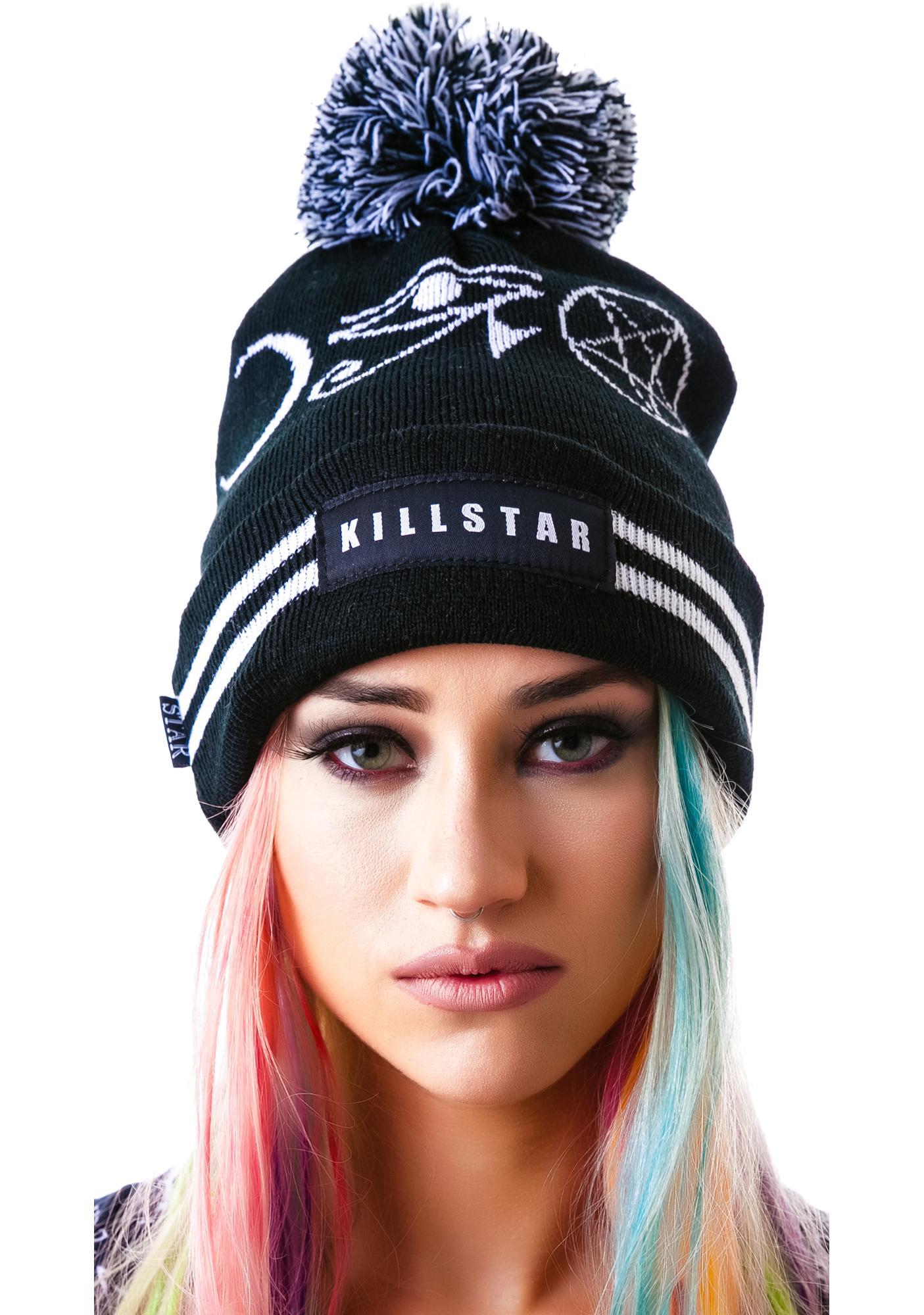 Killstar Symbol Pom Pom Beanie