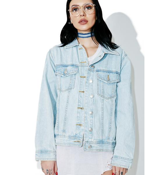 Kiss This Patched Denim Jacket