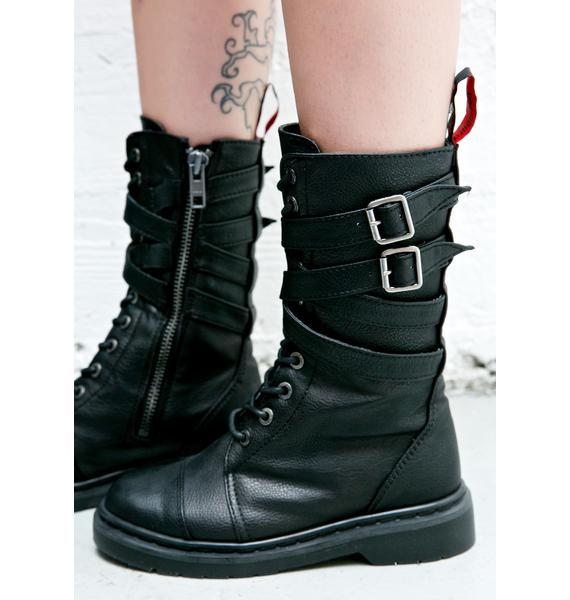 Demonia Rival Strappy Combat Boots