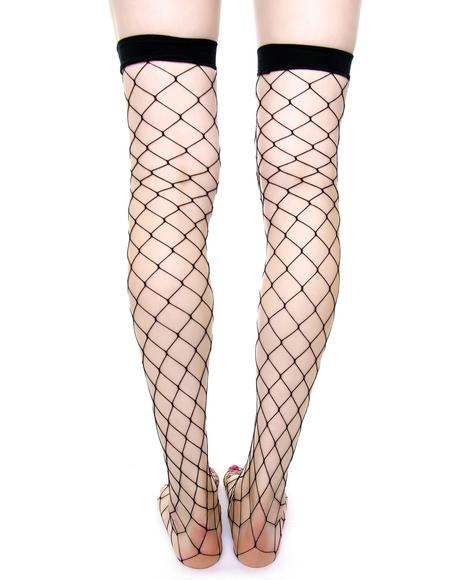 Fence Net Thigh High Tights