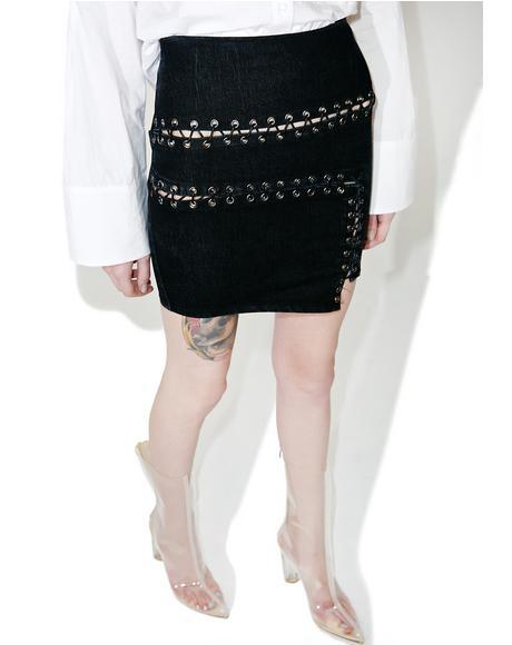 Loose Stitch Lace-Up Skirt