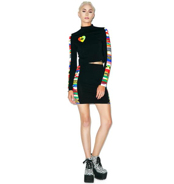 Illustrated People World Long Sleeve Polo Crop