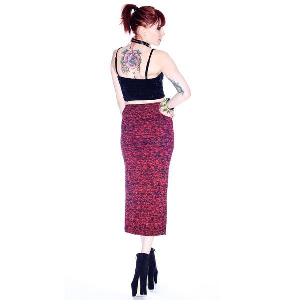Evil Twin Burning Embers Knitted Midi Skirt