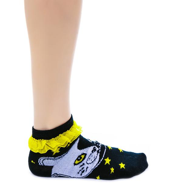 Too Fast Yin Yang Kitty Ruffle Ankle Socks
