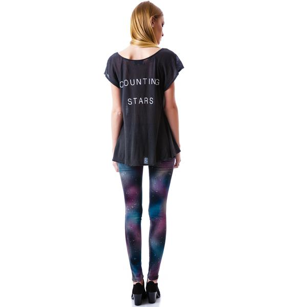 Wildfox Couture Counting Stars Blue Lagoon Henley
