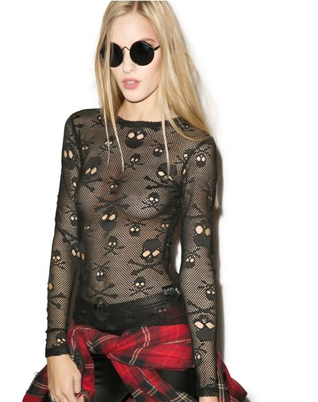 Holey Net Long Sleeve Shirt