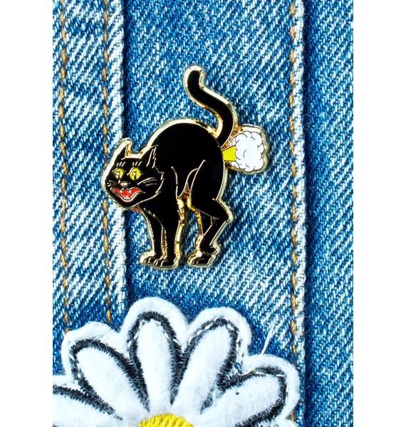No Hours Cat Fart Pin