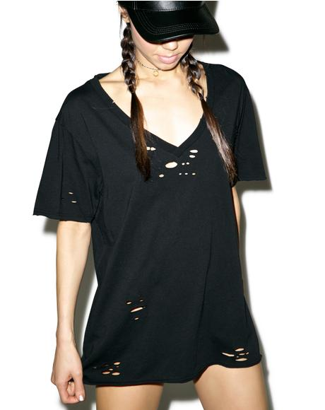Dark Waves Destroyed V-Neck Tee