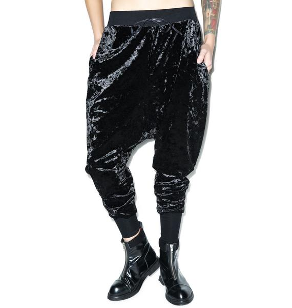 Widow Panther Crushed Velvet Drop-Rise Sweatpants