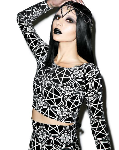 Pentagram Velvet Crop Top