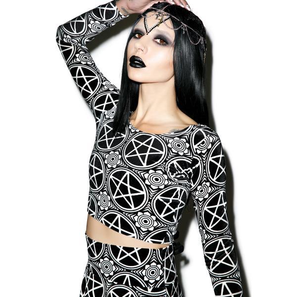 Killstar Pentagram Velvet Crop Top
